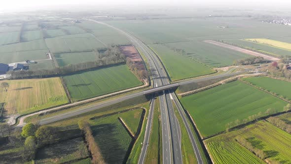 Thumbnail for Aerial Top View of the Motorway, Interchange Between the Motorway and the City