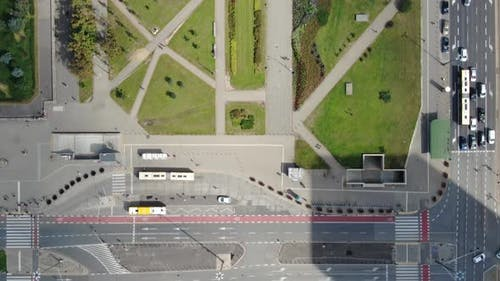 Top-down aerial view of Warsaw city center, Poland, Europe