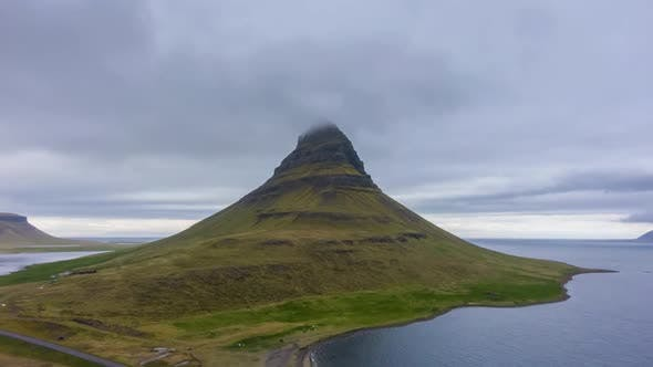 Kirkjufell Mountain in Summer Day. Iceland. Aerial View