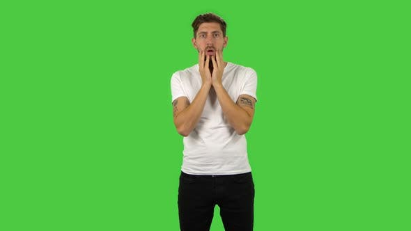 Thumbnail for Confident Guy with Shocked Surprised Wow Face Expression. Green Screen