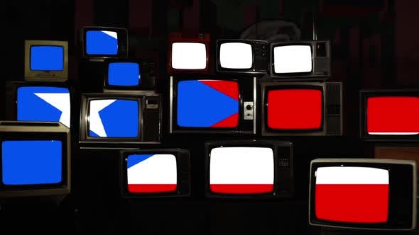 Thumbnail for The flag of Puerto Rico and Vintage Televisions.