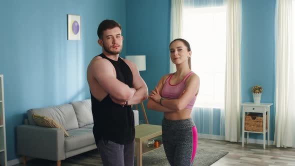 Portrait of Young Athletic Couple