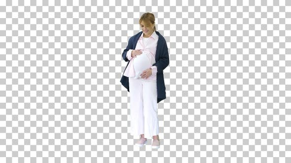 Thumbnail for Pregnant woman caressing her belly, Alpha Channel