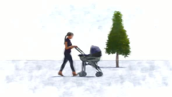 Mother taking a walk with a stroller Stop Motion