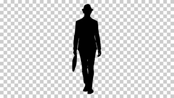 Thumbnail for Silhouette Casual arabian man walking in a hat and with