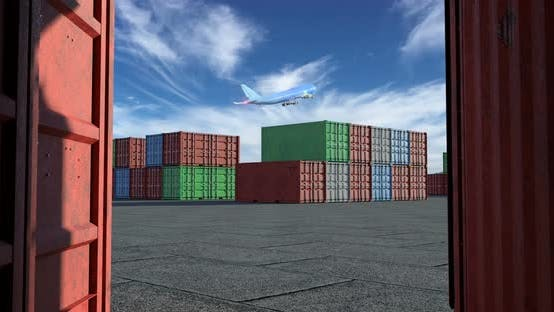 Thumbnail for Cargo Terminal with a lot of Shipping Containers and Taking Off Airplane