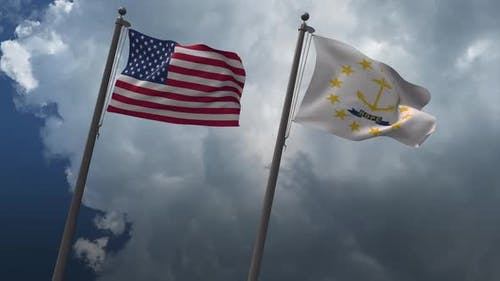 Waving Flags Of The United States And The Rhode Island State 4K