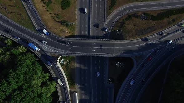 Thumbnail for Top View Car Moving on Freeway Overpass. Car Traffic on Highway Intersection
