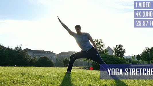 Thumbnail for Healthy Man Doing Yoga Stretches In The City Park