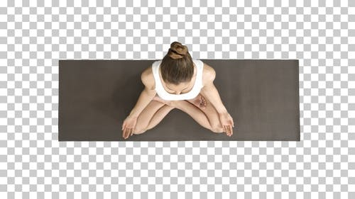 Peaceful Blond Yoga Woman Putting Hands Together and Meditating