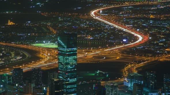 Dubai Cityscape Traffic Night . Pan Up