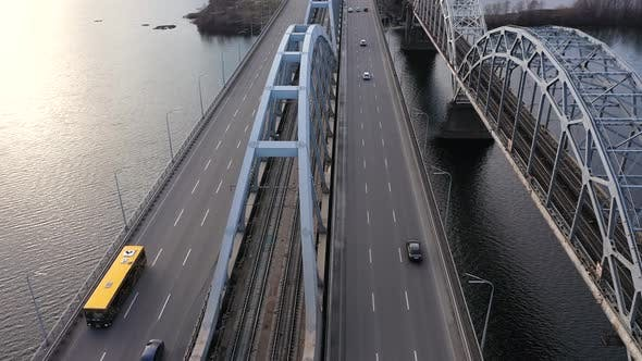 Thumbnail for City Traffic on the Bridge, Industrial City - Bridge Traffic