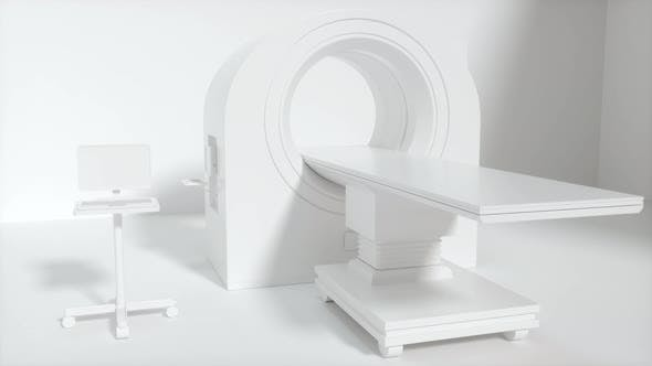 Thumbnail for CT machine with white background, medical facility.