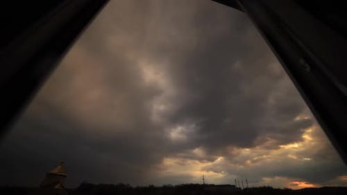 Amazing time lapse: beautiful magic multicolor clouds floating the sky