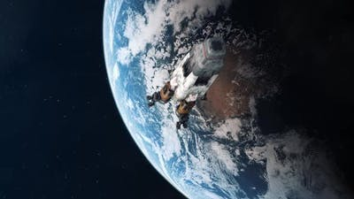 Space Rocket Leaving Earth and Heading into Outer Space