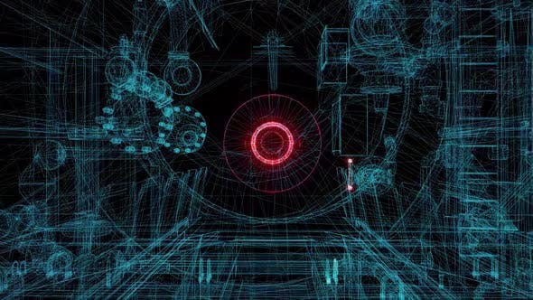 Futuristic Industrial Wireframe Blue Blueprints Hd