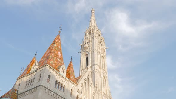 Thumbnail for Top of Matthias church on Buda hill in Hungarian capital Budapest by the day 4K 2160p UltraHD footag