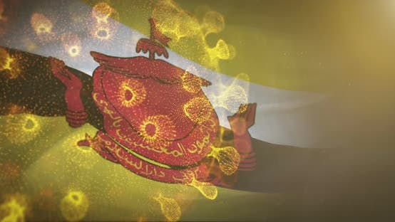 Thumbnail for Brunei Flag With Corona Virus Bacteria 4K