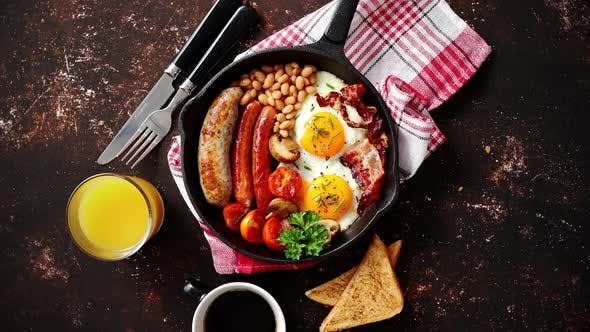 Thumbnail for Delicious English Breakfast in Iron Cooking Pan