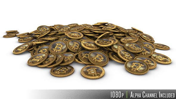 Thumbnail for Pile of Golden Bitcoin Virtual Currency