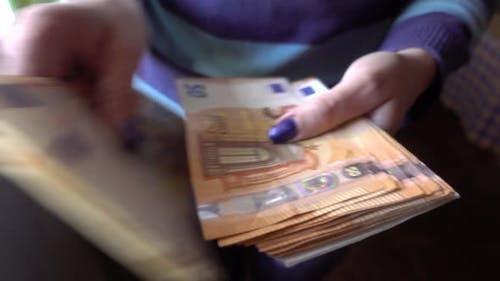 Hands Counting Euro Money Bills