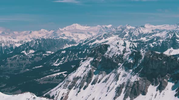 Thumbnail for Panoramic View From the High Mountain To Snowy Peaks in Switzerland Alps, Rochers de Naye