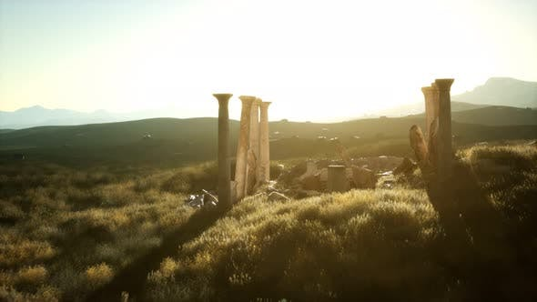 Old Roman Temple Ruins at Sunset