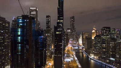 Urban Cityscape of Chicago and Chicago River at Night in Winter