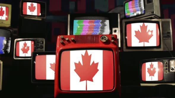 Thumbnail for Canadian Flags and Vintage Televisions.