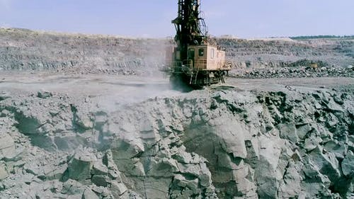 Drilling Rig Drills Granite for Stowing Explosives Slow Motion Industrial Extracting Rock or