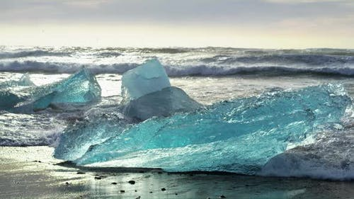 Pieces of Icebergs at Diamond Beach