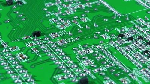 Old Tv Electronic Circuit Board Turning