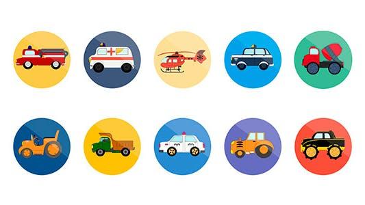 Thumbnail for 10 Icones de transport animées