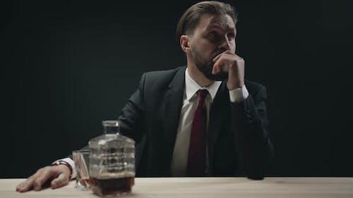 Anxious Bearded Man Waiting