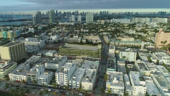Miami Beach and Miami Downtown. Aerial View
