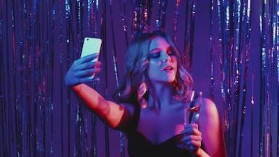 Christmas Selfie Festive Woman Neon Light Party