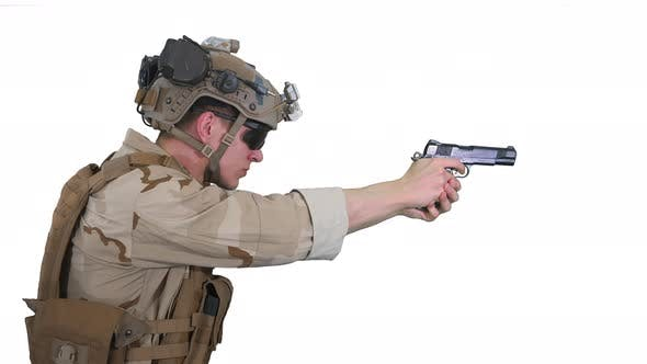 Thumbnail for Soldier Aiming and Shooting with a Pistol on White Background