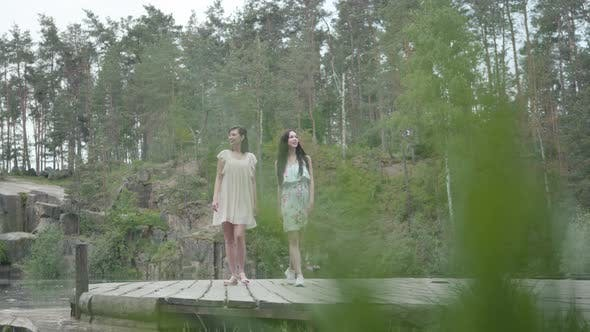 Thumbnail for Two Adorable Women Wear Summer Dresses Standing in the Top of Rock and Looking at Amazing View