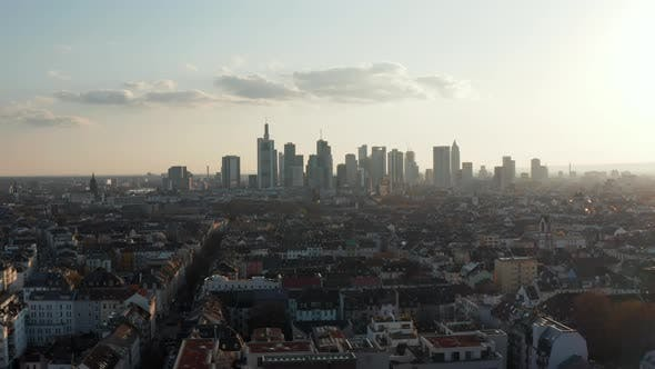Aerial Tracking View of Cityscape with Skyscrapers