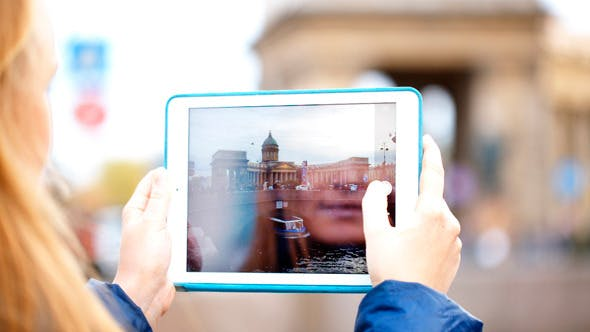 Thumbnail for Woman With Pad Making Photos Of Kazan Cathedral