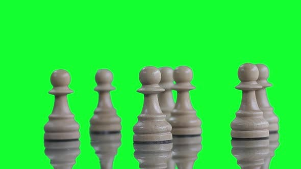 Thumbnail for White Chess Pawns over Green Screen.