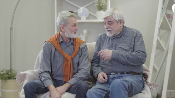 Thumbnail for Positive Senior Caucasian Mates Chatting, Joking and Hugging. Two Old Men Sitting on Couch in