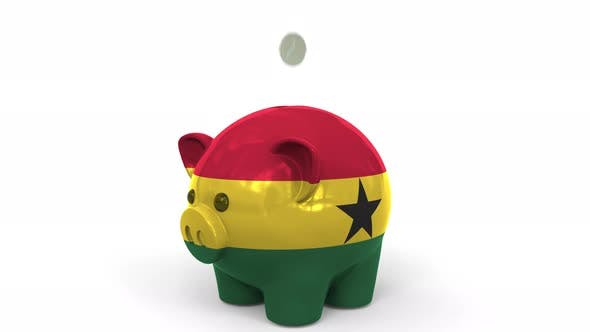 Thumbnail for Coins Fall Into Piggy Bank Painted with Flag of Ghana