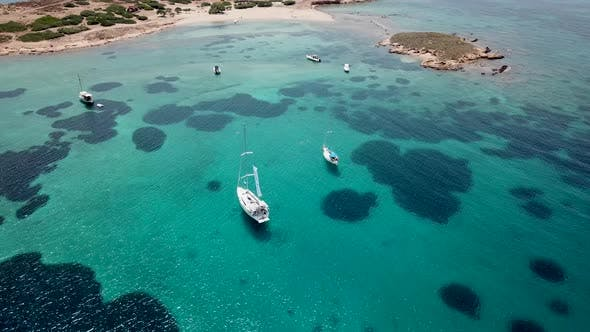 Thumbnail for Aerial View of a Sailing Yacht Near the Greek Islands