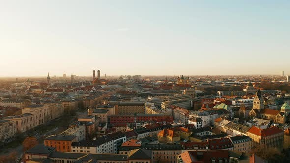 Thumbnail for Aerial footage of the city center of Munich