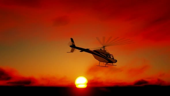 Thumbnail for Helicopter Sunset Landscape