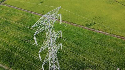 Drone view electric tower