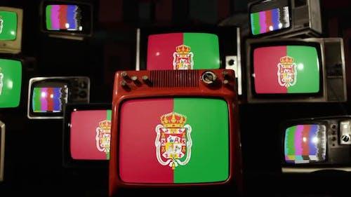 Flagge von Granada, Spanien, auf Retro-Fernsehern.