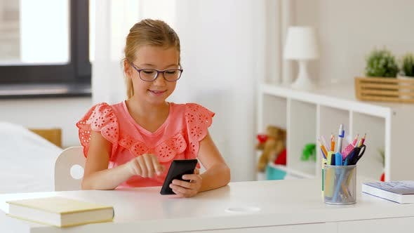 Thumbnail for Student Girl Using Smartphone at Home
