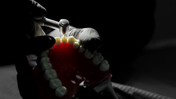 Close-up of a Dentist Practicing on a Mock-up of a Skeleton of Teeth Using a Drill Machine. the